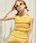 Gingham Check Smocking Blouse_ Yellow