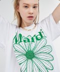 FLOWER MARDI TEE WHITE-GREEN