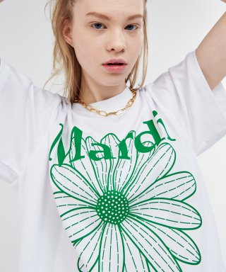 마르디 메크르디(MARDI MERCREDI) FLOWER MARDI TEE WHITE-GREEN