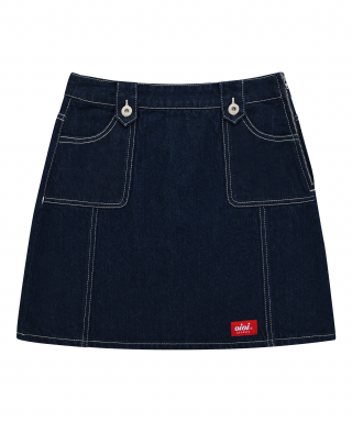 5252 바이 오아이오아이(5252BYOIOI) STITCH POINT DENIM SKIRT_indigo