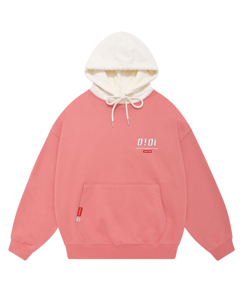 5252 바이 오아이오아이(5252BYOIOI) COLOR BLOCK LABEL HOODIE_pink