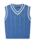 5252 바이 오아이오아이(5252BYOIOI) LOGO TWIST KNIT VEST_blue