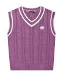 5252 바이 오아이오아이(5252BYOIOI) LOGO TWIST KNIT VEST_purple