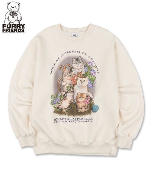 스컬프터(SCULPTOR) [UNISEX] Kitten Friends Sweatshirt [IVORY]