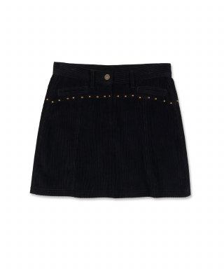 스컬프터(SCULPTOR) Corduroy Stud Skirt [BLACK]