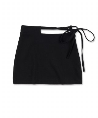 스컬프터(SCULPTOR) Waist Cut Out Wool Skirt [BLACK]
