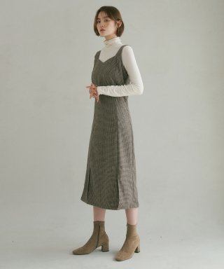 리올그(REORG) DIVIDEDNESS JUMPER SKIRT CHECK BROWN