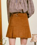 로라로라(ROLAROLA) (SK-20546) CORDUROY BELT PLEATS SKIRT BROWN