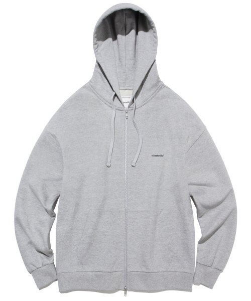 비바스튜디오(VIVASTUDIO) BASIC LOGO HOODIE ZIP UP JA [MELANGE GREY]
