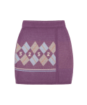 5252 바이 오아이오아이(5252BYOIOI) ARGYLE KNIT WRAP SKIRT_purple