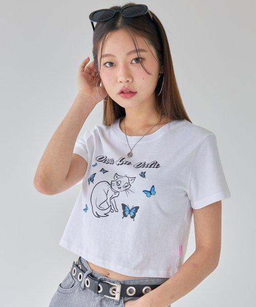 BLACKPINK Jisoo Luv is True kitten butterflies crop top Fashion Fix The Honey POP