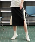 테이즈() Flap Double Line Track Skirt (Black)