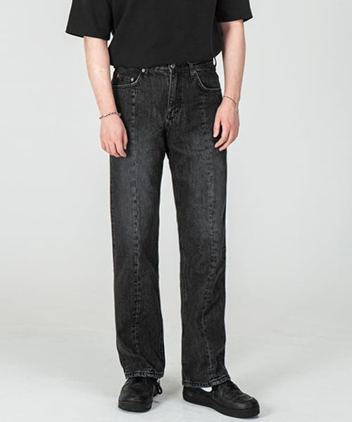 브랜디드(BRANDED) 1804 FRONT CUT BLACK JEANS [WIDE STRAIGHT]