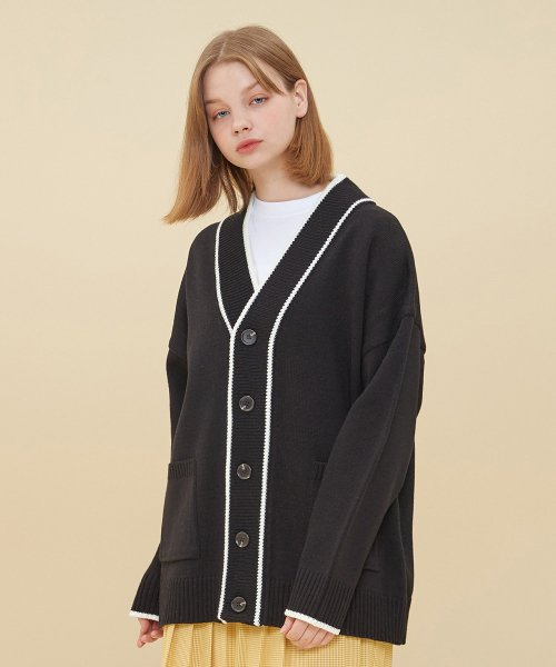 블론드나인(BLOND9) COLORATION KNIT CARDIGAN_BLACK
