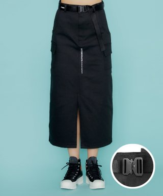하이버넷(HYBERNAT) BELTED LONG SKIRT-BLACK