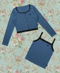 네스티팬시클럽(NASTY FANCY CLUB) [NF] LACE POINT CARDIGAN SET UP(BLUE)(F553XF560)