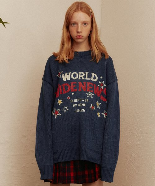 메인부스(MAINBOOTH) World Wide Oversized Sweater(NAVY)