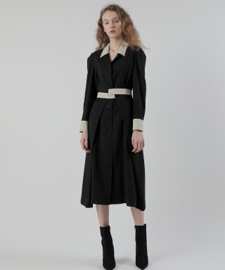 피에이(P/A) 20FW COLOR COMBI DRESS/BLACK