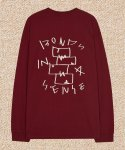 잇터(ITER) BLOCKBUSTER DRAW LONGSLEEVE_BURGUNDY/CREAM