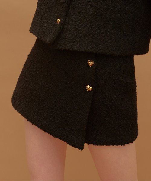 하트클럽(HEART CLUB) Heart Tweed Skirt (Black)