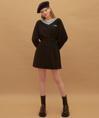 하트클럽(HEART CLUB) Heart V-neck Jersey Dress (Black)