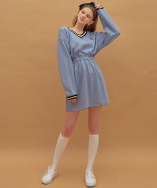 하트클럽(HEART CLUB) Heart V-neck Jersey Dress (Indi Blue)