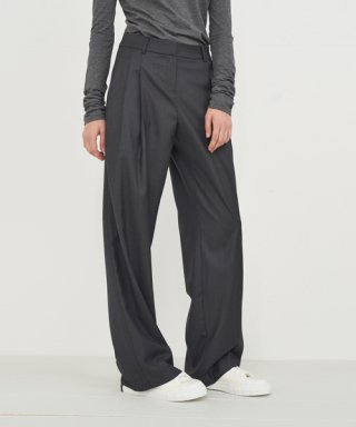 아헤(AHE) WOOL BLEND LONG WIDE SLACKS_GREY