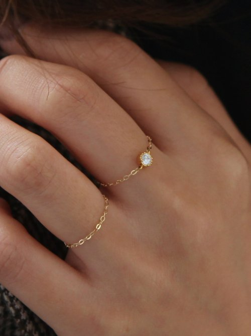 멕코이(MCCOII) [SET]14k gold white Q chain ring + 14k gold chain ring