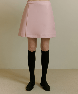 오아이오아이(OiOi) FAKE LEATHER SKIRT [PINK]