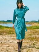 오앨(OH L) SOLID PIN TUCK DRESS_MINT BLUE