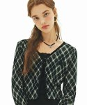 네스티팬시클럽(NASTY FANCY CLUB) [NF] ARGYLE BUTTON CARDIGAN (BLK)(20FW-F573)