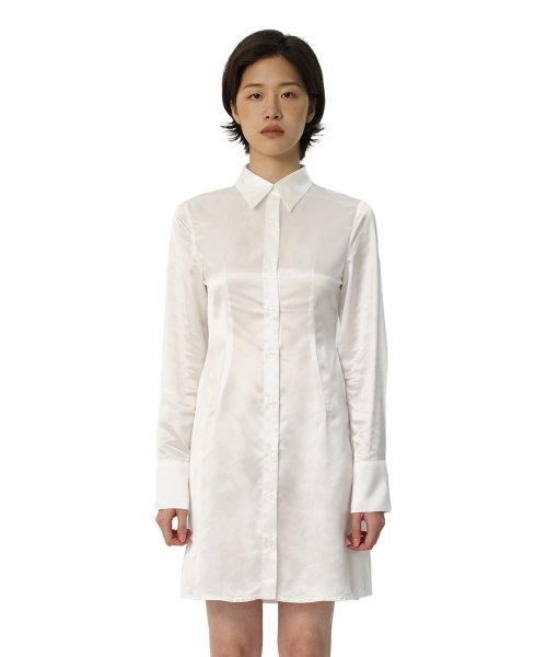큐리티(CURETTY) C SATIN SHIRT DRESS_WHITE