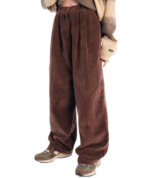 스컬프터(SCULPTOR) Wide Pin Tuck Corduroy Pants [BROWN]