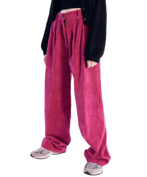스컬프터(SCULPTOR) Wide Pin Tuck Corduroy Pants [FUSCHIA]