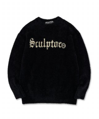 스컬프터(SCULPTOR) Fuzzy Logo-Intarsia Sweater [BLACK]