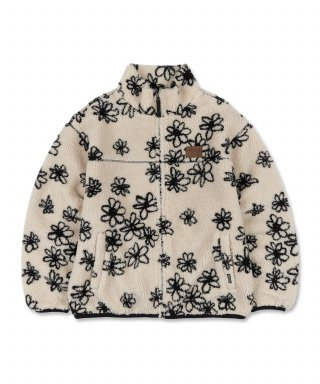 스컬프터(SCULPTOR) Doodle Flower Sherpa Jacket [IVORY/BLACK]