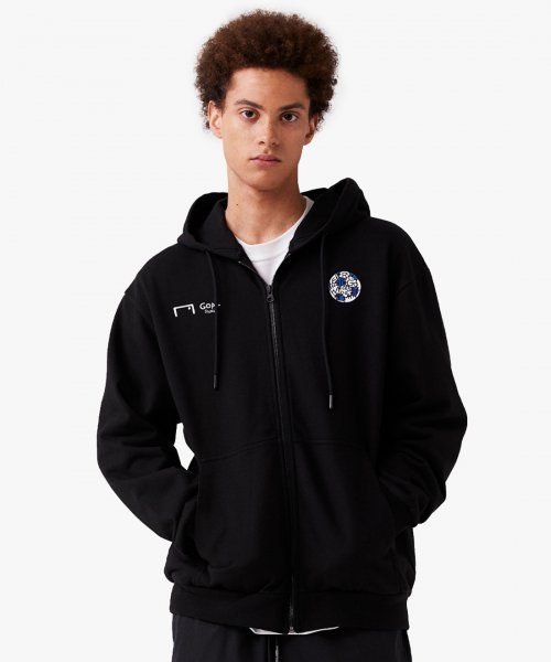 골스튜디오(GOALSTUDIO) CFC ZIP UP HOODIE - BLACK