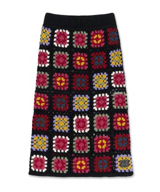 스컬프터(SCULPTOR) Handmade Merino Wool Crochet Skirt [MULTI FLOWER]