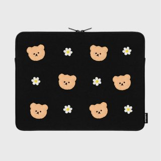 어프어프(EARPEARP) Dot flower bear-black-15inch notebook pouch(15인치 노트북파우치)