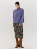 오앨() FLOWER PAINTED WOOL MIDI SKIRT_GREEN