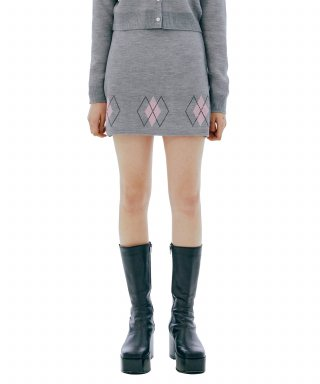 큐리티(CURETTY) C RHINESTONE ARGYLE KNIT SKIRT_GREY