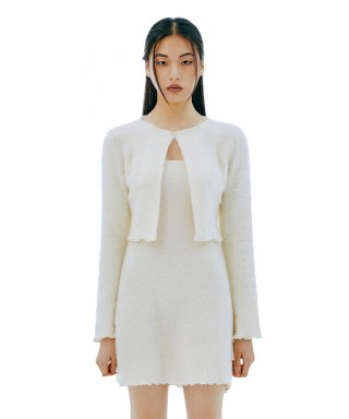 큐리티(CURETTY) C HAIR KNIT CARDIGAN SET-UP DRESS_IVORY