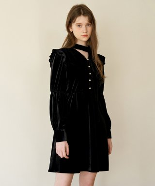 하케쉬(HACKESCH) Carol Velvet Dress_Black