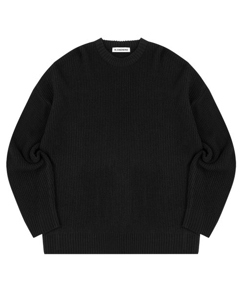 블론드나인(BLOND9) CREW NECK RIB KNIT SWEATER_BLACK