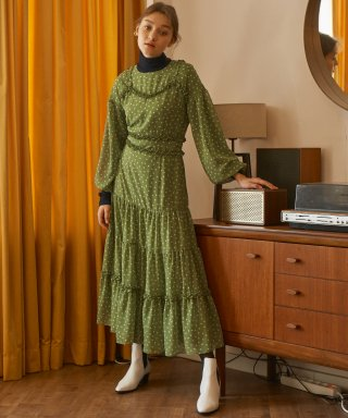 살롱 드 욘(SALON DE YOHN) Dot Tulle Dress_ Green