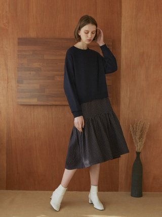 아방(AVANT-G) Hound Tooth Check Combination Sweatshirt Dress - Dark Navy