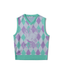 5252 바이 오아이오아이() ELE ARGYLE KNIT VEST [MINT]