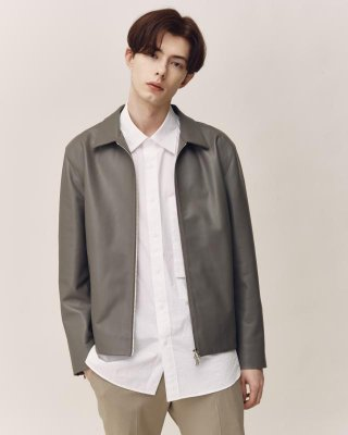 티엔지티(TNGT) GRAY REGULAR-FIT ITALY LAMBSKIN LEATHER JACKET TNJU1E704G2