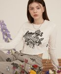 론론(RONRON) CRACK ROSE LONG SLEEVE T-SHIRT WHITE
