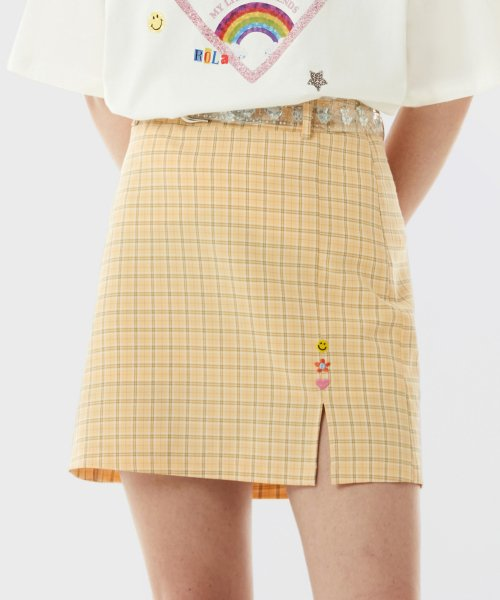 로라로라(ROLAROLA) (SK-21145) CHECK CLEAR BELT SKIRT YELLOW